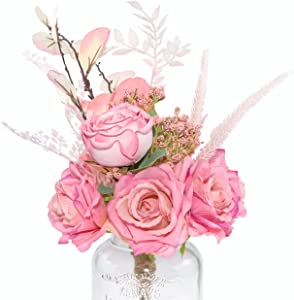 Neazy Pale Pink Flowers Artificial Roses Pink For Farmhouse Centerpiece Country Baby Shower Decor Girls Room Decor Shabby Chic Floral Arrangement For Bridal Shower Bridal Bouquet Country Wedding Decor