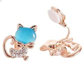 Women's Sweet Fox Cute Animals Cat Clip on Earrings Blue Cat's Eye Stone Jewelry for Teen Girls Gift