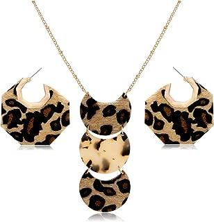 GLBCC Leopard Leather Necklace Earrings Set for Women Fur Leather Geometric Hexagon Hoop Stud Earrings Acrylic Leopard Leather Long Pendant Necklace