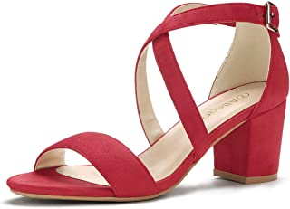 red mid heel sandals