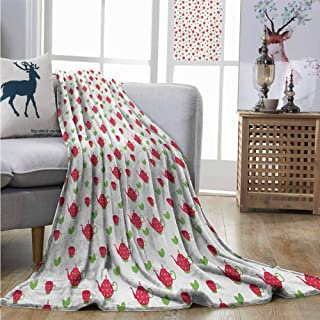 Homrkey Cozy Blanket Tea Party Teapots with Polka Dots and Leaves Tea Time Image Beverage British Design Summer Blanket W54 xL72 Dark Coral Green