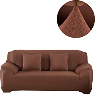 ANJUREN Sofa Couch Slipcover Oversize 1 Piece 4 Seater Cushion Large Sofa Couch Cover Replacement Polyester Spandex Stretch Furniture Slip Cover Protector (4 Seater Sofa, Light Coffee)