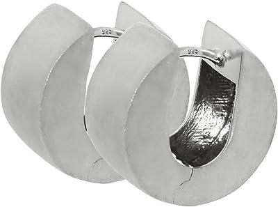 NKlaus Silber Paar 925 Sterlingsilber Klappcreolen Ohrringen 14,6mm matt anlaufgeschützt 4804