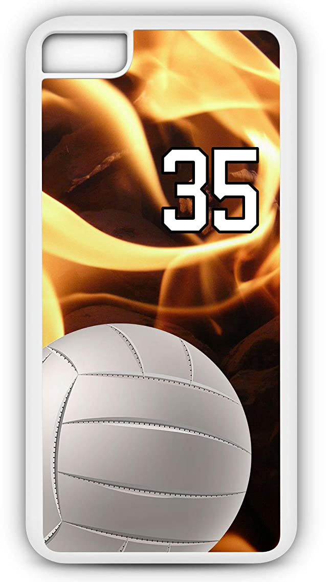 iPhone 8 Plus 8+ Phone Case Volleyball V009Z by TYD Designs in White Plastic Choose Your Own Or Player Jersey Number 35