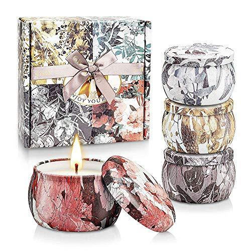 Yinuo Mirror Duftkerzen Geschenkset für Damen, 4 * 4.4 Oz SojaWachs-Kerze, Lavendel,Gardenie,Jasmin,Vanille, Aromatherapie, Bad, Yoga, für Damen Geburtstag, Weihnachten, Muttertag