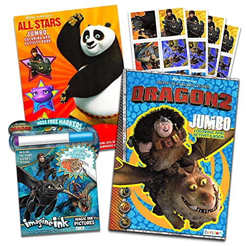 How To Train Your Dragon Ultimate Coloring and Activity Super Set -- 2 Activity Books, 1 Mess-Free Magic Ink Coloring Book, and Stickers (Party Supplies)