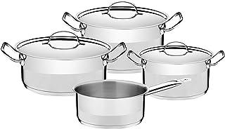 Tramontina Professional Juego (4 Piezas, Acero Inoxidable, 3 ollas y 1 cazo para Todo Tipo de cocinas), 18/10