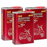 MANNOL 3 x 1L 7805 Scooter 2-Takt Premium API TC+/JASO FB Motoroel High-Speed-Scooter Mopeds Rot
