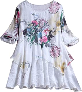 Tsmile Womens Plus Size Blouse Cut Overlay Casual Printed Floral Color 3/4 Sleeve Tops Loose O-Neck Shirts