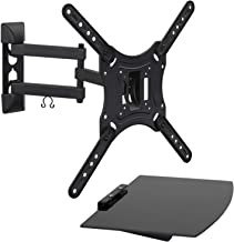 Mount-It! TV Mount with Shelf | Full Motion TV Wall Mount with Floating Entertainment Shelf for Cable Box, DVR | Single Stud Installation | Fits Televisions Up to 55 Inches, VESA 75x75mm to 400x400mm