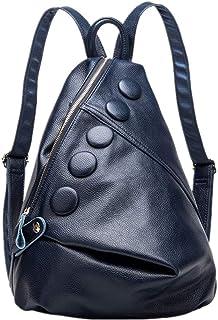 xi dong Die Neue hochwertige Lederschulterkopf Schicht aus Leder geprägten Leder Rucksack Mode Rucksack College Wind,Marineblau,Free Size