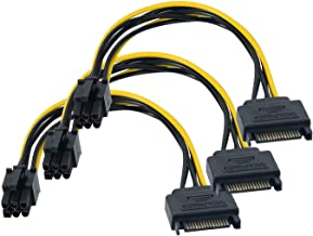 SATA Power Cable 3 Pack SATA 15-Pin to 6-Pin PCI Express Card Power Cable Adapter 8 Inch