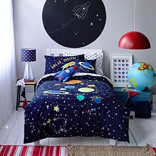 LELVA Space Rockets Planets Spacecraft 着後レビューで 送料無料 Bedding Stars for 100%品質保証! Pattern