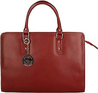 Chicca Tutto Moda CTM Borsa Donna a Mano Cartella da Lavoro Rosso, 36x27x11cm, Vera Pelle 100% Made in Italy