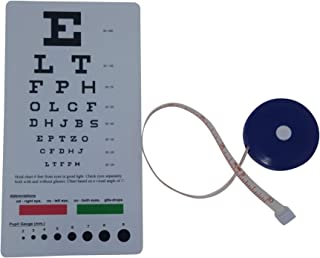 Snellen Pocket Eye Chart Bundle with Retractable Tape Measure 2 Items Total.