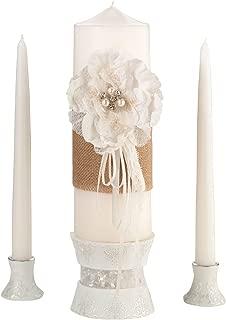 Lillian Rose Rustic Burlap Lace Wedding Unity Candle Set