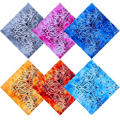 URATOT 6 Pack Tie Dye Bandana Cotton Paisley Bandanas Headbands Cowboy Handkerchiefs for Men and Women