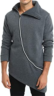 Men's Transition Jacket Turtleneck Slim with Zipper Lapel Thick Warm Long Sleeve Asymmetrical Cardigan Coat Classic Retro ...