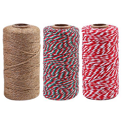Elcoho Lot de 3 rouleaux de ficelle de Noël en jute naturelle pour emballages cadeaux, travaux manuels, jardinage, 300 m Couleur A.