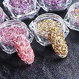 MEIYY Decoración de uñas 12 Piezas De Diseño Mixto Mini Grano Micro Circonio Piedras Irregulares Uñas Pedrería Caviar Vidrio Uñas Arte Decoración Accesorios