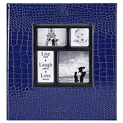 Ywlake Photo Album 4x6 600 Pockets Photos Croco, Extra Large Capacity Family Wedding Picture Albums Holds 600 Horizontal and Vertical Photos Blue