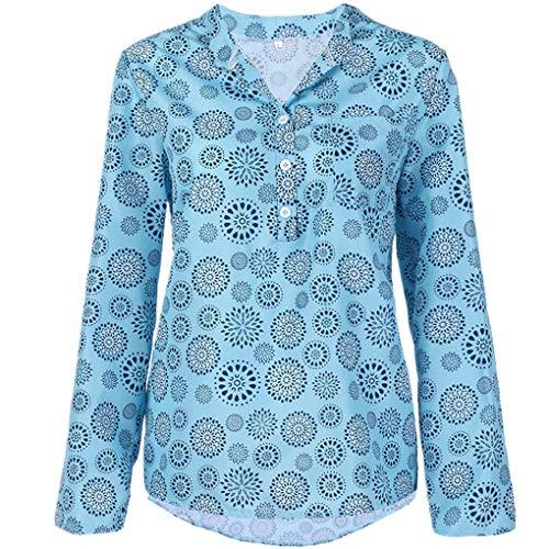 Große Größe T-Shirt Oberteile für Damen/Dorical Frauen Kurzarm/Lange Ärmel V-Ausschnitt Knopfleiste Lose Drucken Sweatshirt Tunika Sommer Elegant Casual Tops S-5XL Reduziert(Hellblau,Large)