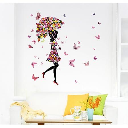 Decals Design 'Floral Umbrella Girl and Butterflies' Wall Sticker (PVC Vinyl, 50 cm x 70 cm x 1 cm, Multicolour)