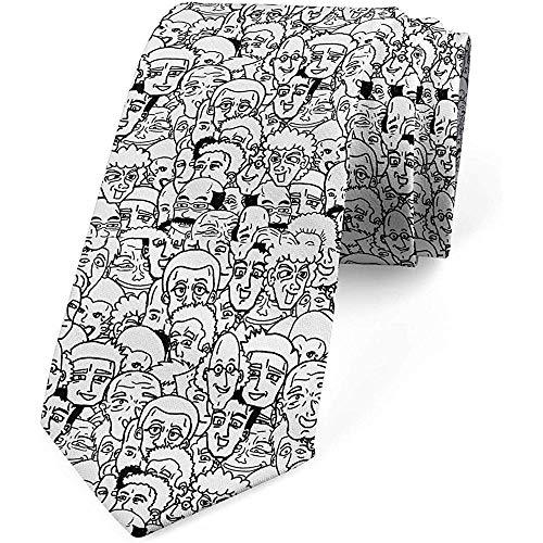 Corbata de hombre, Personajes de cómic, 8 cm, gris carbón y blanco