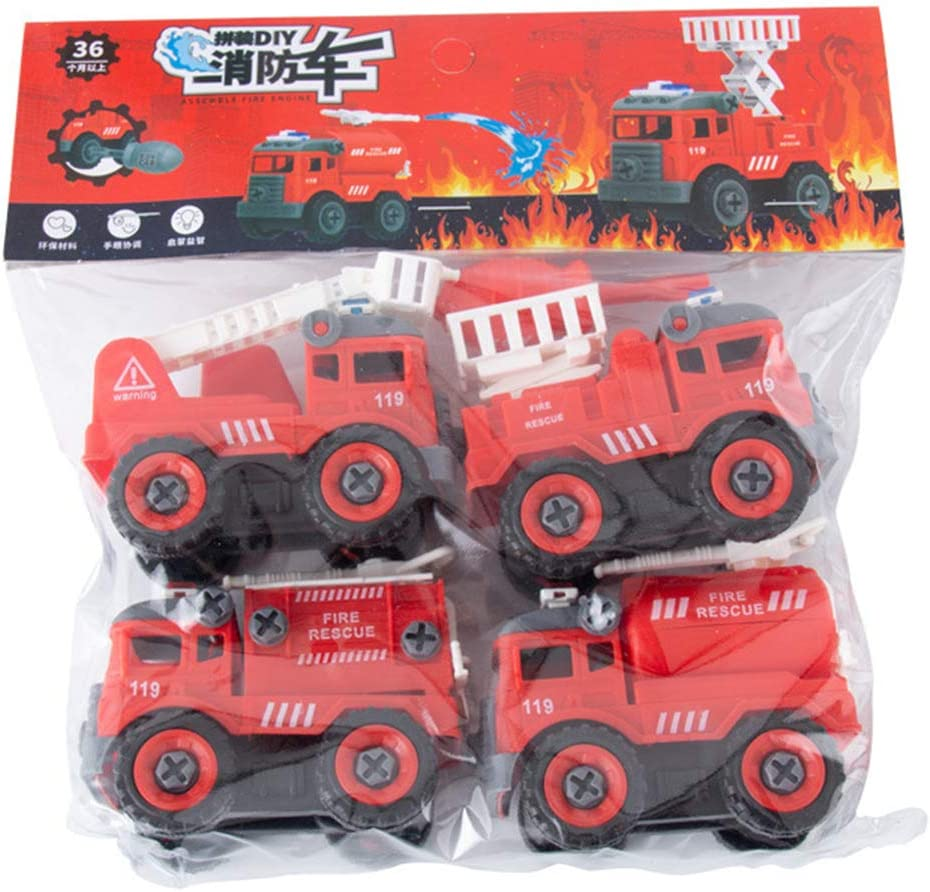 4pcs Very popular! Construction Toy Engineering Car Fire Screw Truck Build trust and