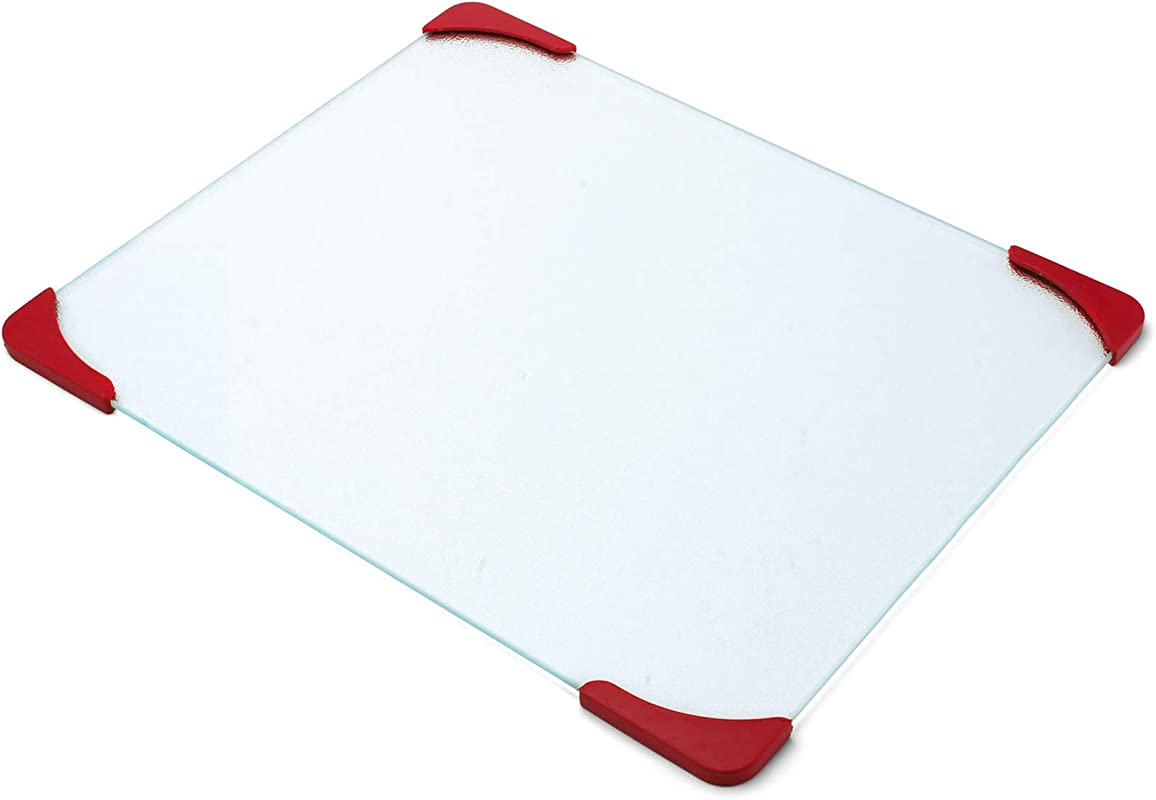 Farberware 12 By 15 Inch Glass Utility Cutting Board With Non Slip Red Corners
