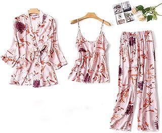 d4cea5653ae Kelry ☘ ,Pijamas Mujeres Simulación Estampado Ropa De Dormir Seda Pantalones  De Manga Larga Camisón