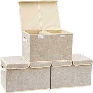 EZOWare Boîte de Rangement Pliable de 30L avec Couvercle, Cube, Boîte Range pour Vêtement, Décoration, sous-vêtements, Jou...