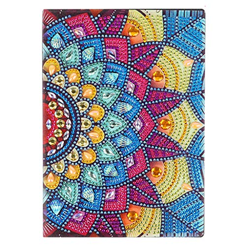 Cuadernos A5 Pintura de Diamantes Diarios Secretos A5 Blanco Mandala 5D Cubierta de Cuero con Pintura de Diamante 50 Páginas Planas Diario de Bocetos Regalos de Cumpleaños 50 Hojas 120 Páginas