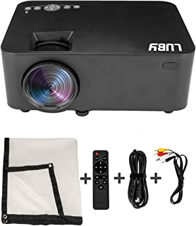 Luby Portable Movie Projector with Free Projector Screen Perfect for Fun Camping Neighborhood Gathering Backyard Movie