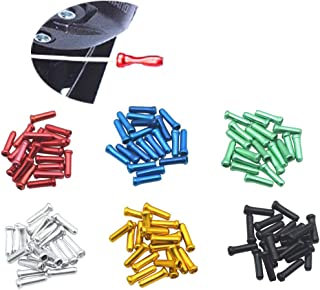 JooFn 120 PCS Brake Cable Caps Bike Shift Cable Gear Wire End Tips Crimp for Road Mountain Bikes, 20 PCS for Each Color of Black Silver Green Blue Golden Red