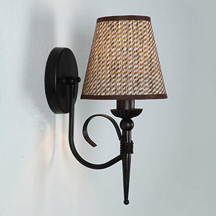 YJH+ 牧歌的な暖かいベッドサイドランプアメリカのレトロシングルヘッドベッドルームの布の壁ランプクリエイティブ階段アイルの壁ランプ 美しく、寛大な ( 色 : ブラウン ぶらうん )