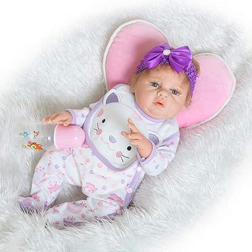 Lsrryd Babypuppen Weiß Silikon Vinyl 50cm   Echt Leben M n Wiedergeboren Baby Puppe Realistisch Neugeborenes Spielzeug Magnet Schnuller (Größe   5cm)