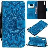 KKEIKO Hülle für Sony Xperia L3, PU Leder Brieftasche Schutzhülle Klapphülle, Sun Blumen Design Stoßfest Handyhülle für Sony Xperia L3 - Blau