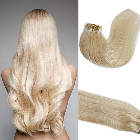 Myfashionhair Clip en extensiones de cabello Extensiones de cabello humano real 22 en 7 piezas 70g Pelo rubio platino sedoso Remy Remy