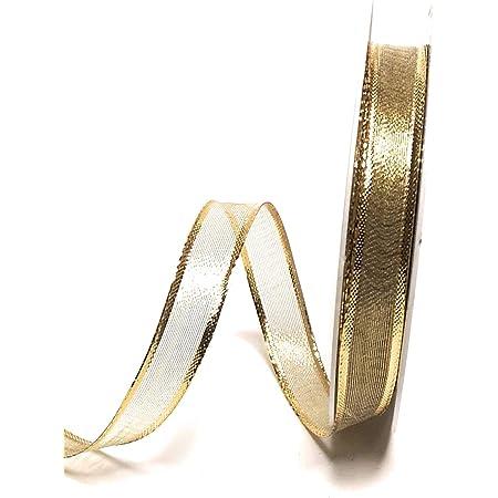 Konrad Arnold Satinband 50m x 3mm gr/ün Gold Goldrand Dekoband Geschenkband Schleifenband