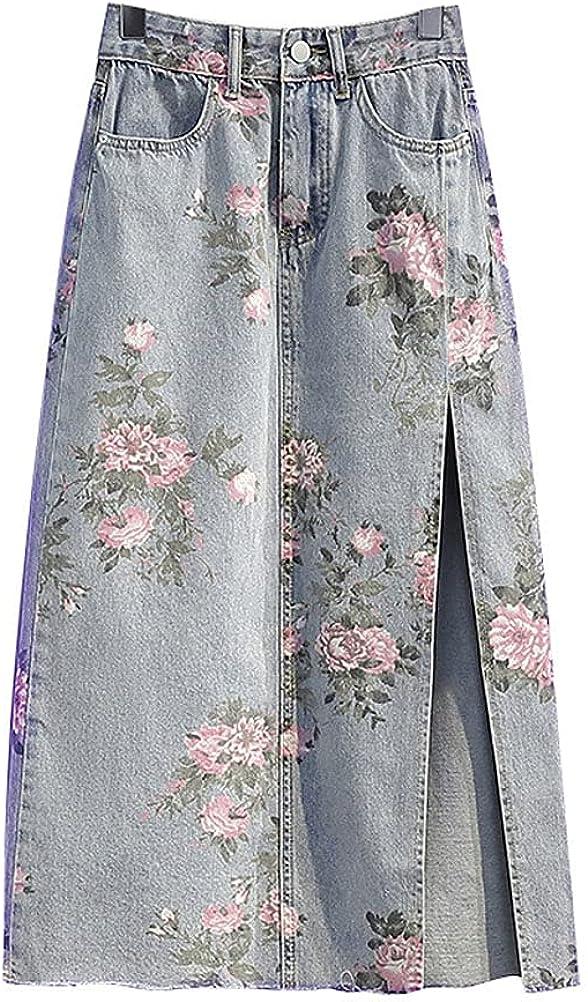 PAODIKUAI Women's Vintage Distressed Floral High Waist Split A Line Denim Midi Skirt