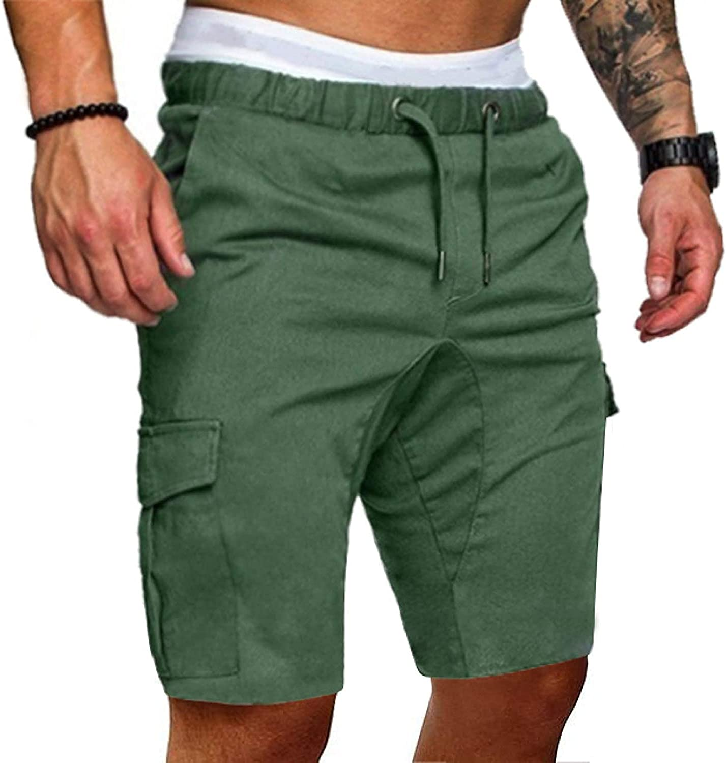 Men's Stitching Multi-Pocket Cargo Shorts Solid Color Casual Simple Fashion ArmyGreen
