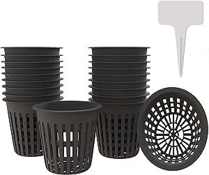 AQSXO 4 Inch Plastic Net Cups, Pots Plant Containers, for Hydroponics Aquaponics Orchids, 10 Pcs Black, with 20pcs Garden Tags.