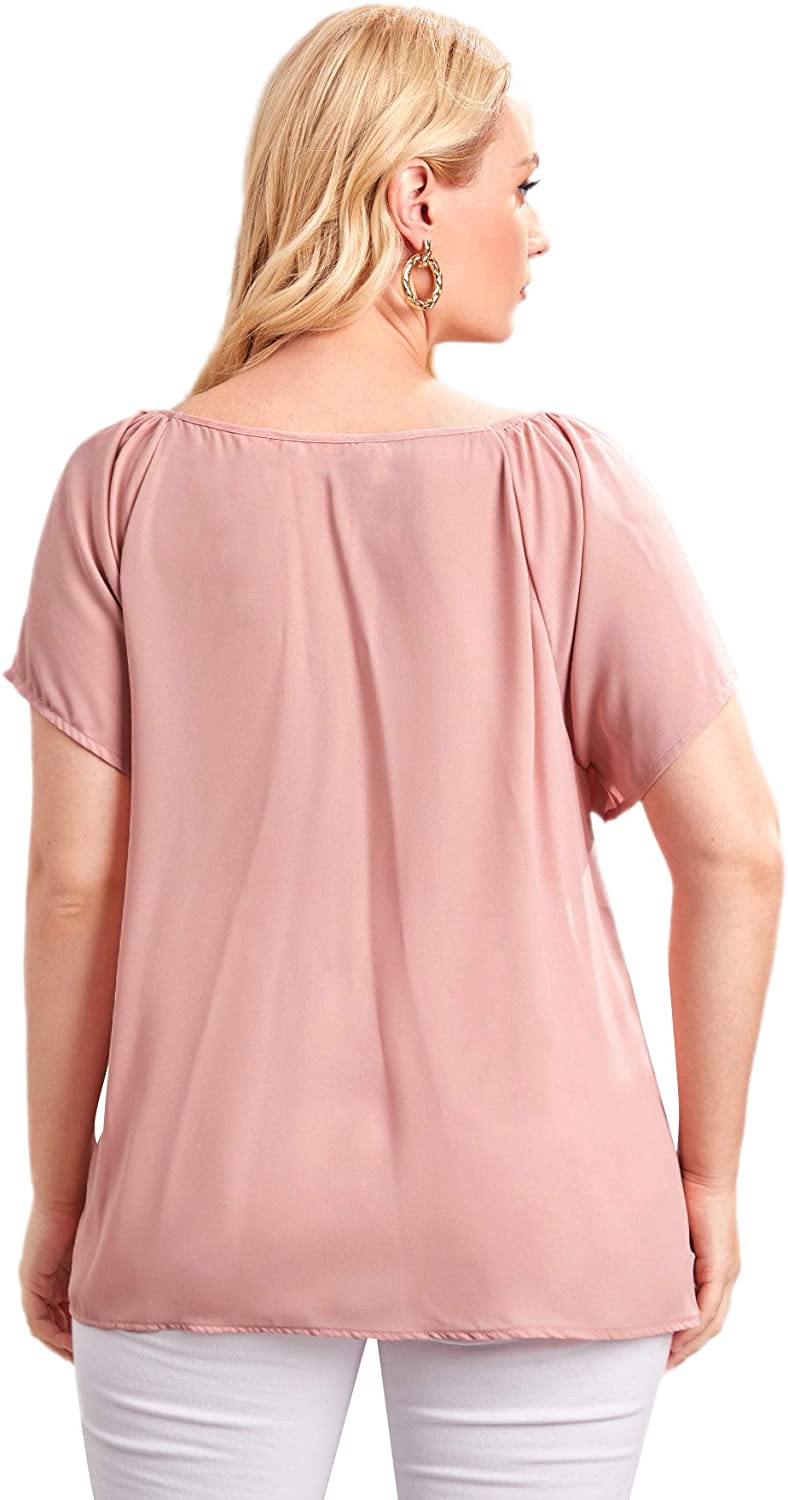 SheIn Women's Plus Short Sleeve Sweetheart Neck Blouse Tie Front Solid Tee Shirts