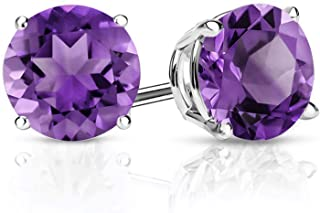 925 Sterling Silver Purple Amethyst Gemstone Birthstone Stud Earrings, 2.60 Ctw Round 7MM