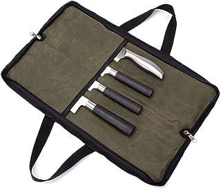 4 Bolsillos de Lona Encerada para Cuchillos, Cuchillos, Cubiertos, Cuchillos, Cartera, Protectores, Soporte Adecuado para Cuchillos y barbacoas, Herramientas de Cocina, Tijeras, tenazas