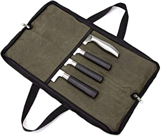 QEES Pro Chef's Knife Roll(4 Slots), Heavy Duty Waxed Canvas Knife Bag with Durable Handles, Portable Knife Carrier Case for Men & Women, Perfect for Travelling, Working, Barbequing, Camping