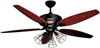NOMA Ceiling Fan with Lights & Reversible Blades | Dimmable Edison Bulb Cage Lights and Remote | Dark Brown, Bronze, 52-Inch