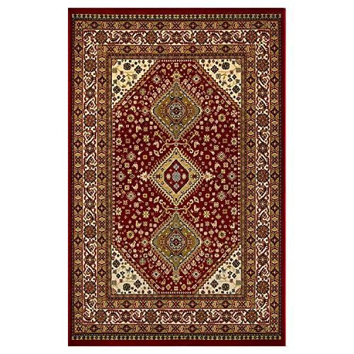 OLIVO.shop | TAPPETO NAIN TABRIZ ANKARA - Tappeto persiano modello classico, arredamento soggiorno salotto camera da letto o ufficio, art.542-B rosso 120x180 cm