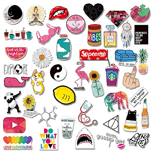 Cute Stickers,91 Pcs Laptop Water Bottle Decal Waterproof Sticker for Teen Girls Kids,Durable Decoration Stickers for Notebook Skateboard Motorcycle Bicycle Luggage Guitar Bike (Mix Color)
